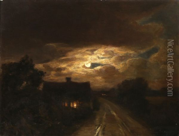 Moonlight Shines Through The Clouds Over A Dark Country Road Oil Painting - Hans Andersen Brendekilde