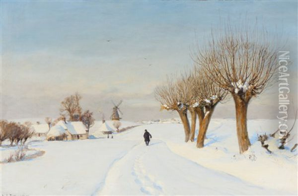 A Snowcovered Landscape With A Man Walking Along A Country Road Edged With Poplars Oil Painting - Hans Andersen Brendekilde