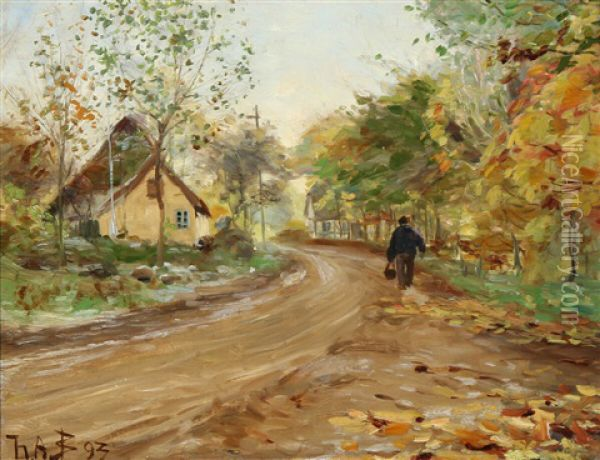 A Man Walking Along A Country Road Oil Painting - Hans Andersen Brendekilde