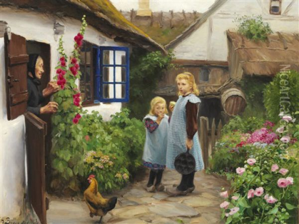 Two Little Girls In Front Of A Thatched Farm Oil Painting - Hans Andersen Brendekilde