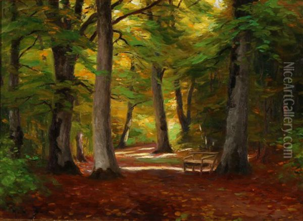 Forest Clearing With An Empty Bench Oil Painting - Hans Andersen Brendekilde