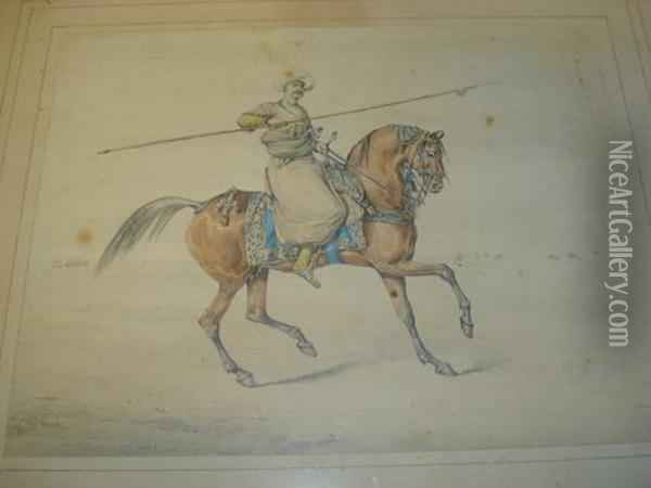 Ottoman Rider Holding A Lance, Together With Another Similar Oil Painting - Henry Thomas Alken