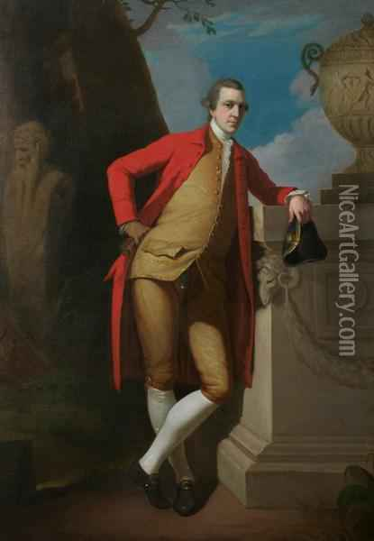 Portrait Of A Gentleman, Full Length, In A Red Coat, Buff Waistcoat And Breeches, Holding A Black Tricorn Hat Oil Painting - David Allan