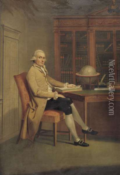 Property From The Estate Of Dorothy Dillon Eweson              Portrait Of A Gentleman In A Library Oil Painting - David Allan