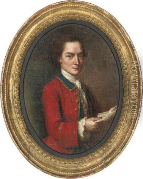 Portrait Of A Gentleman, Half-length, Seated In A Red Military Coat, A Letter In His Right Hand Oil Painting - Francis Alleyne