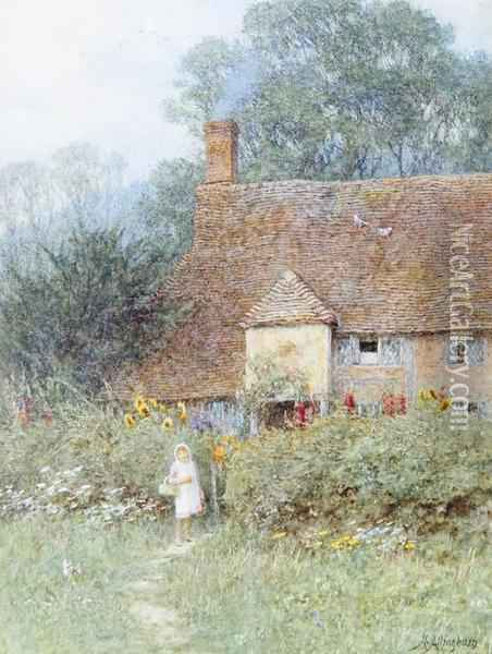 By The Cottage Gate Oil Painting - Helen Mary Elizabeth Allingham