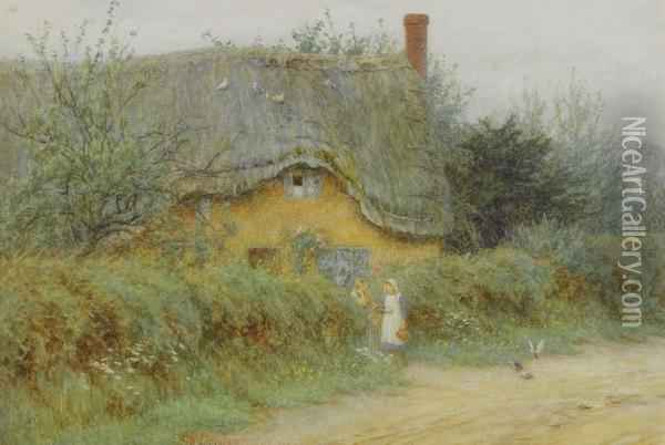 A Wiltshire Cottage Oil Painting - Helen Mary Elizabeth Allingham