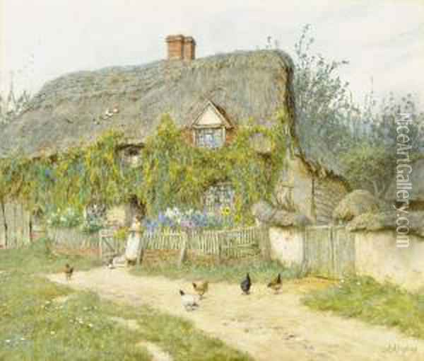 Feeding The Chickens, East Hagbourne Oil Painting - Helen Mary Elizabeth Allingham