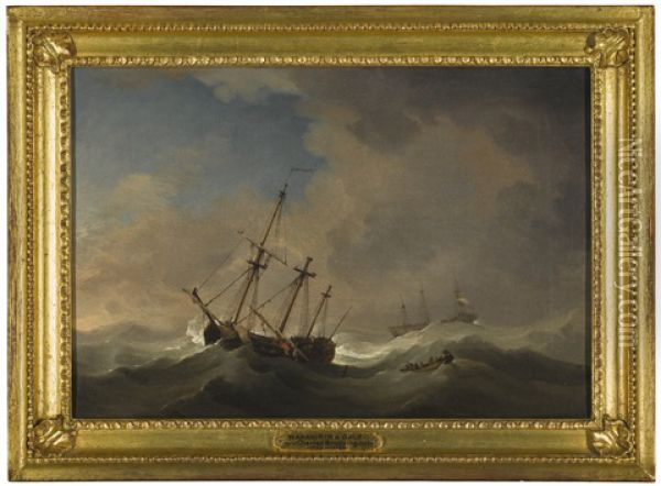 A Flagship Shortening Sail In A Gale Oil Painting - Charles Brooking