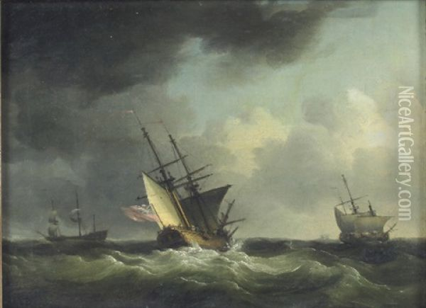 A Show And Other Merchant Shipping In A Strong Breeze After A Gale Oil Painting - Charles Brooking