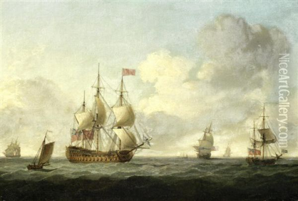 A Vice-admiral Of The Red's Flagship Running Before The Wind, With Other Ships Of Her Squadron In The Near Vicinity Oil Painting - Charles Brooking