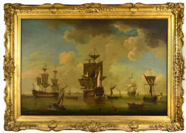An English Man-of-war, A Fourth Rate Ship Of The Line (50-60 Guns), With A Frigate In Attendance, And Other Men-of-war In Harbour Oil Painting - Charles Brooking