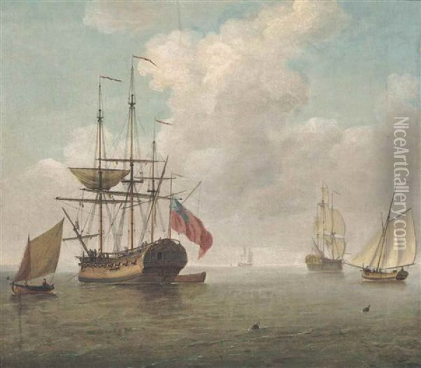 A Small Man-o'war At Anchor With Cutters Under Sail Oil Painting - Charles Brooking