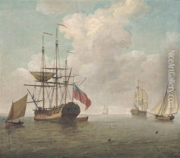 A Small Man O'war At Anchor With Cutters Under Sail Oil Painting - Charles Brooking