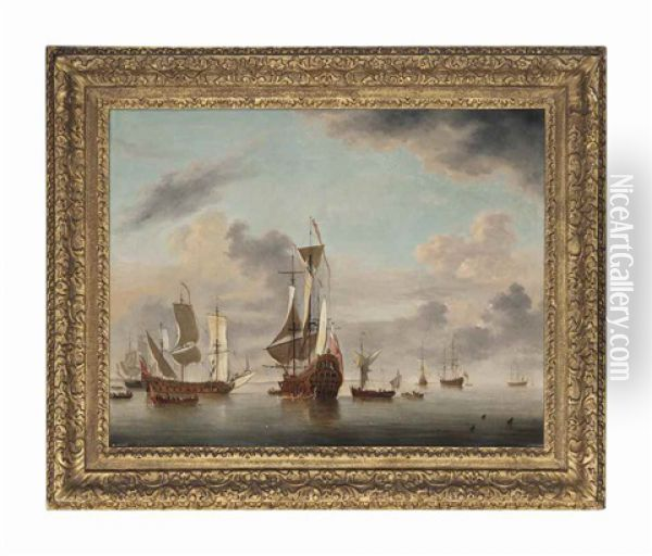 An English Two-decker Of Forty Guns Riding At Anchor Off A Coast With A Galliot Close By And Five Men-o'war Beyond Oil Painting - Charles Brooking