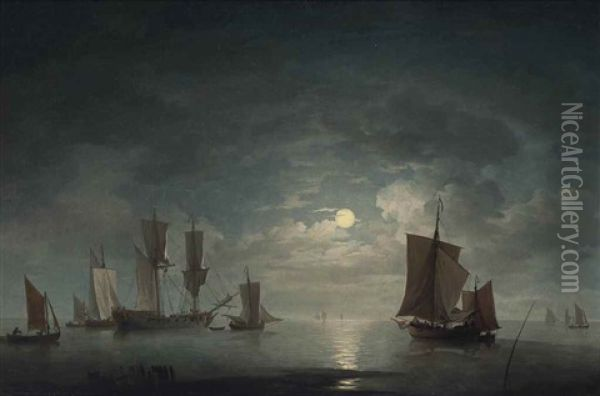 An English Merchant Brig And Coastal Craft Becalmed By Moonlight Oil Painting - Charles Brooking