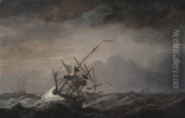 A Dismasted English Ship At Sea Driven Before A Gale, Her Headsails Aback, With Other Ships In A Heavy Sea Oil Painting - Charles Brooking