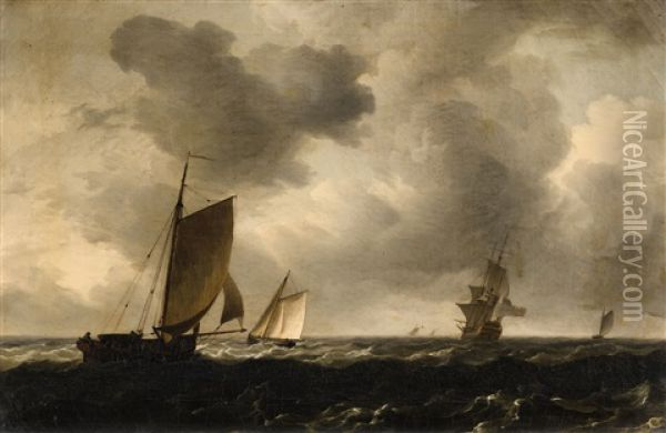 Two Maritime Paintings Oil Painting - Charles Brooking