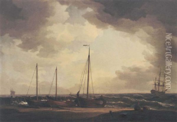 Fishing Boats On The Beach, Pulled Clear Of The Heavy Swell, With A Man-o'war Riding At Anchor Nearby Oil Painting - Charles Brooking