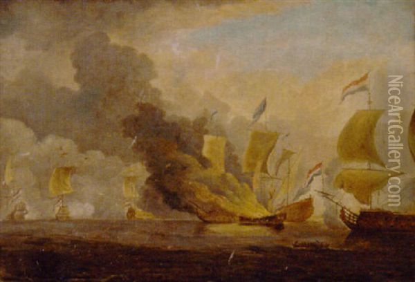 The Dutch Fleet In Action Oil Painting - Charles Brooking