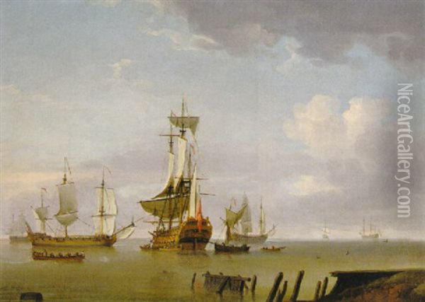 A Man-of-war Becalmed With Other Shipping Off The Coast Oil Painting - Charles Brooking