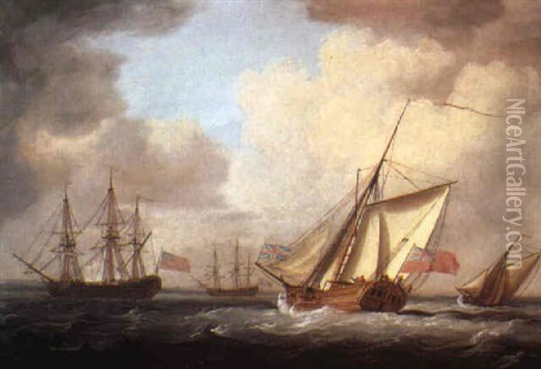 The Yacht Dorset Oil Painting - Charles Brooking