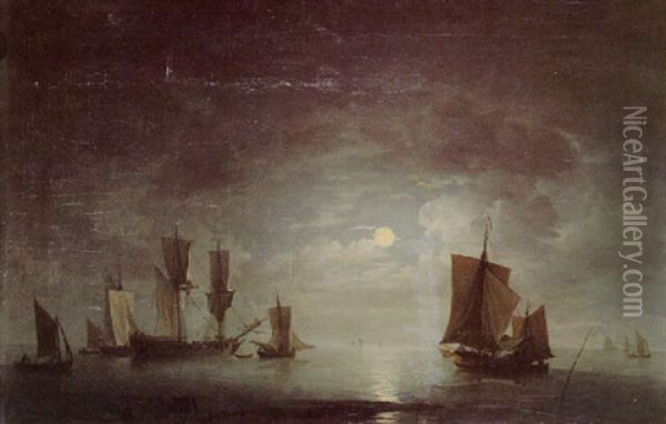 An English Frigate And Coastal Craft Becalmed By Moonlight Oil Painting - Charles Brooking