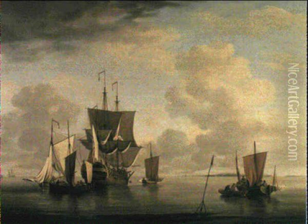 An East Indiaman And Fishing Craft Off Sheerness Oil Painting - Charles Brooking