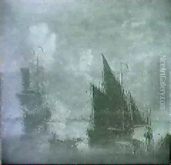 Frigate And Fishing Vessels Off Coast Oil Painting - Charles Brooking