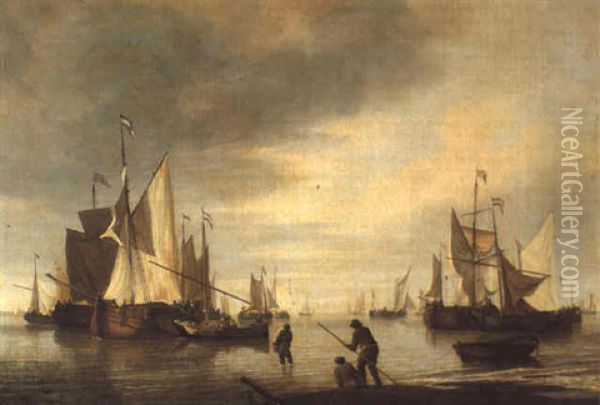 Dutch Barges In A Calm Oil Painting - Charles Brooking