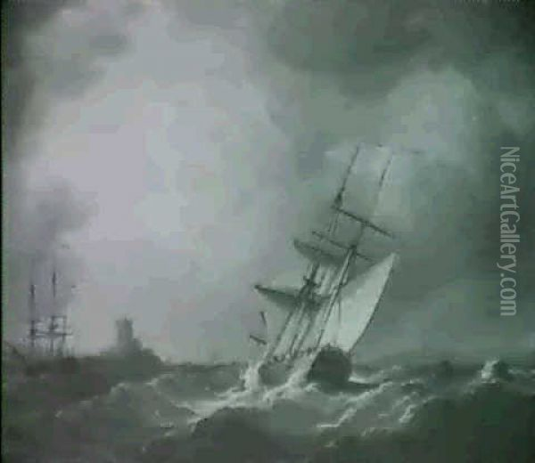 A Cutter Heeling Over In A Squall,                          Another Sailing Vassel And A Castle Beyond Oil Painting - Charles Brooking
