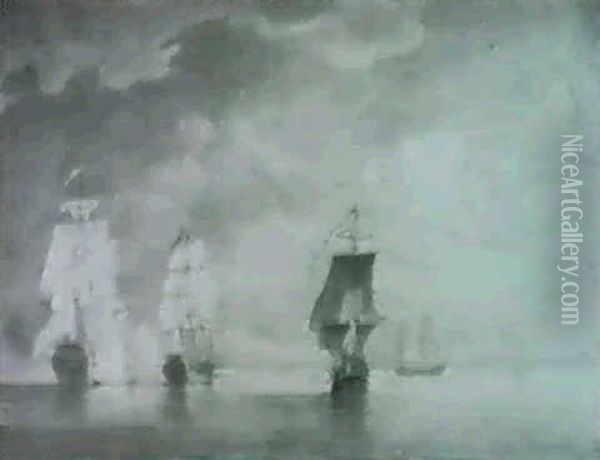 A Sea Battle Off Cape St. Vincent Oil Painting - Charles Brooking
