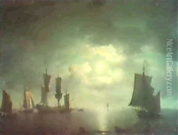 An English Merchant-brig And Coastall Craft Becalmed By     Moonlight Oil Painting - Charles Brooking