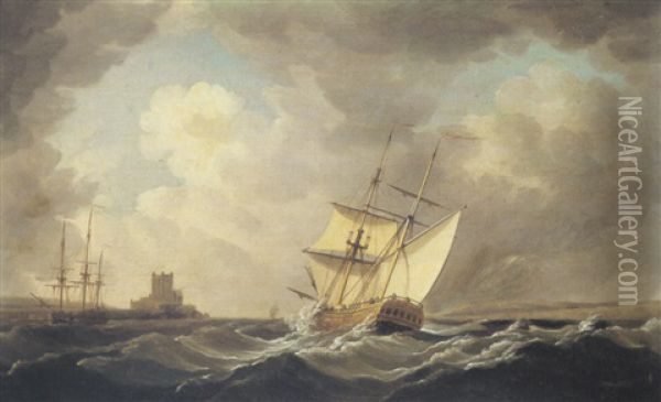 A British Man Of War In Rough Seas Off The Coast Oil Painting - Charles Brooking