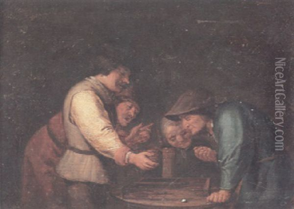 Figures Gathered Around A Table Playing Backgammon Oil Painting - Adriaen Brouwer