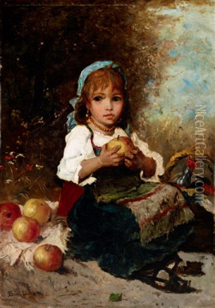 Girl With Apples Oil Painting - Lajos Bruck