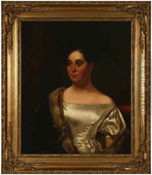 Portrait Of Ellen Adair White Oil Painting - Washington Allston