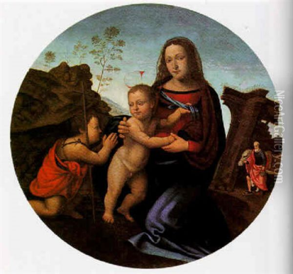The Madonna And Child With The Infant St. John The Baptist Oil Painting - Giuliano Bugiardini