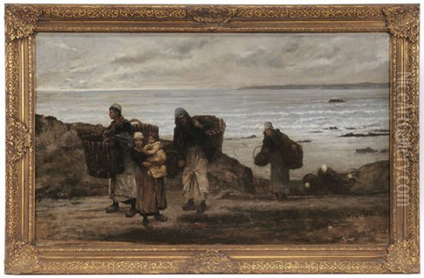 Fisher Folk Coming Up From The Beach Oil Painting - Ulysse Louis Auguste Butin