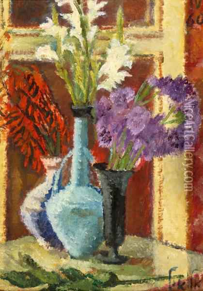 Vases Of Flowers On The Table Oil Painting - Arie Alweil
