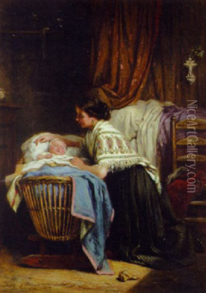 The Watchful Mother Oil Painting - Leon Emile Caille