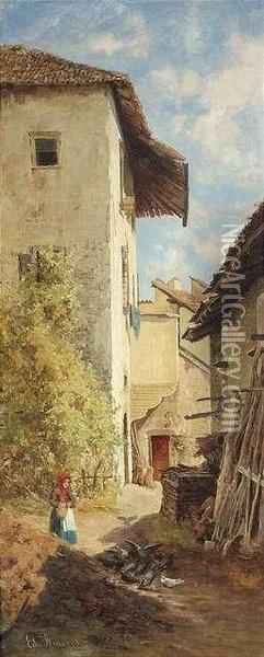 A Peasant Woman In The Court Of A Southern Farmstead. Huntsmen At A Southern Castle. A Pair. Oil/panel, Both Of Them Signed , Verso Old Labels Of Zinckgraf Gallery In Munich With Numbering
