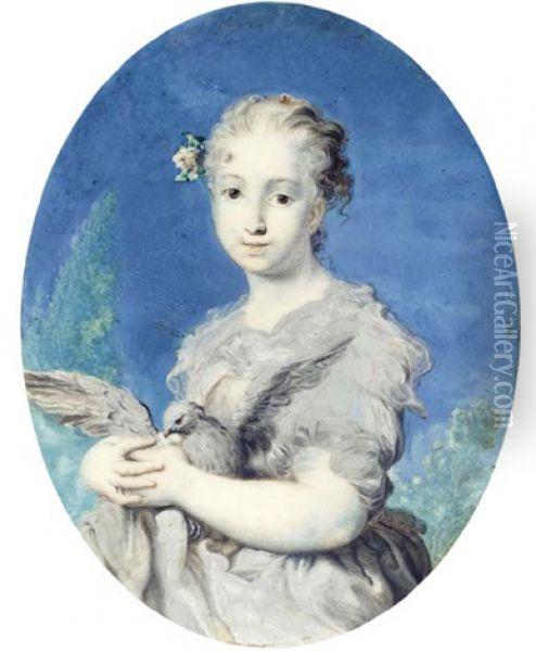 Self Portrait As Innocence, Holding A Dove In Her Arms, Grey Dress With Red Lined Grey Stole, White Flower And Foliage In Her Swept Back, Fair, Curling Hair Oil Painting - Rosalba Carriera