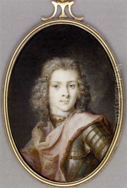 A Young Gentleman (duc Du Maine?), In Gilt-studded Armour, Red Cloak Draped Across His Left Shoulder, Shoulder-length Powdered Curling Hair ... Oil Painting - Rosalba Carriera