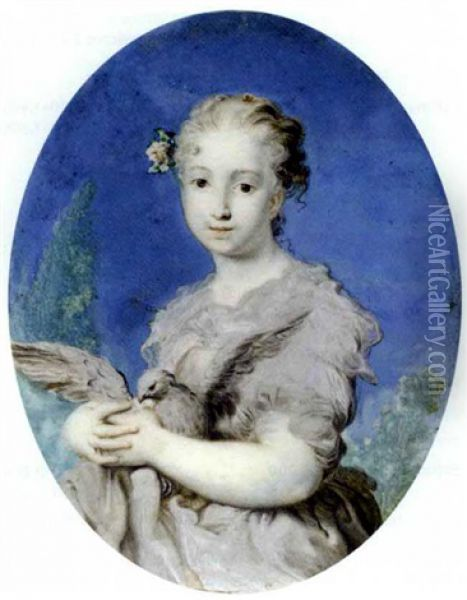 A Young Lady Dressed As Innocence, Holding A Dove In Her Arms, Grey Dress With Red Lined Grey Stole, White Flower And Foliage In Her Powdered Curling Hair Oil Painting - Rosalba Carriera