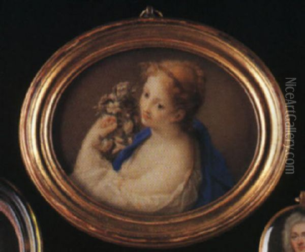Portrait Of A Lady With Fair Hair Piled In Plaits Upom Her Head, Holding A Garland Of Flowers Oil Painting - Rosalba Carriera