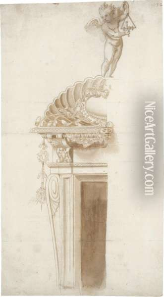 An Ornamental Design For A Doorway With A Putto Playing A Triangle Oil Painting - Ippolito Andreasi