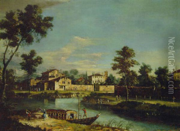 River Landscapes With Villas In The Veneto Oil Painting - Giovanni Battista Cimaroli