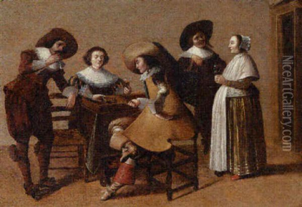 An Elegant Company Drinking And Playing Backgammon In An Interior Oil Painting - Pieter Jacobs Codde