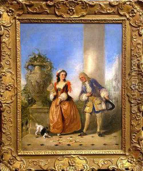Two Elegant Courting Figures On Aterrace Oil Painting - Henry Andrews
